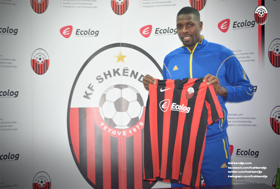 Idrissou at his presentation; photo: KF Shkendija