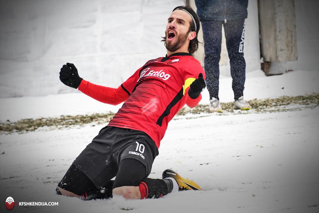 Ferhan Hasani - celebrates- winning goal against Akademia Pandev